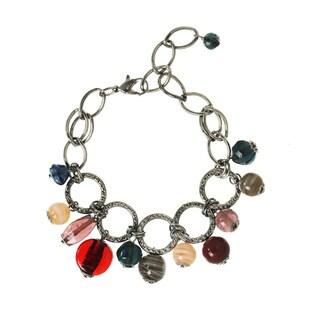 Hematite Multi-colored Glass Bead Charm Bracelet