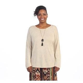 Hadari Women's Plus Size Beige Dolman-sleeve Sweater
