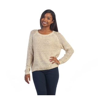 Hadari Women's Ivory Sequin Knit Sweater with Chain Back