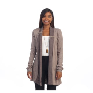 Hadari Women's Long Brown Ribbed Waist-tie Cardigan