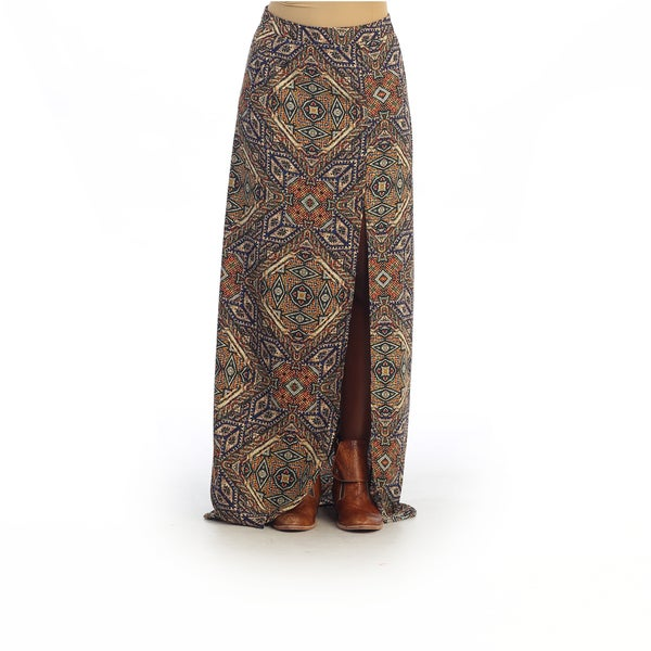 Hadari Women's Multi-colored Tribal Geometric Maxi Skirt with Slit