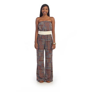 Hadari Women's Tribal Multi-colored Strapless Jumpsuit