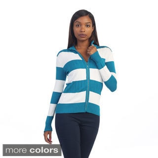 Hadari Women's Striped Zip-up Sweater Cardigan