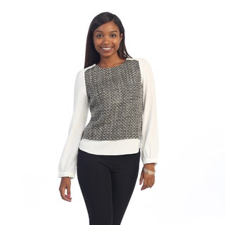 Hadari Women's Black/ White Marbled-knit Long Sleeve Sweater Top