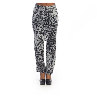 Hadari Women's Grey Leopard Print Loose Pants with Asymmetrical Front Layer