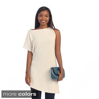 Hadari Women's Gathered One-shoulder Sheath Asymmetrical Tunic