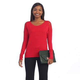 Hadari Women's Long Sleeve Sweater with Lace Detail