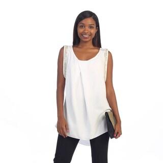 Hadari Women's White Beaded Sleeveless Blouse