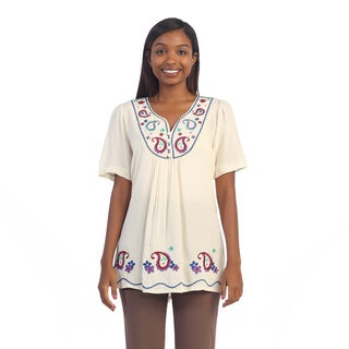 Hadari Women's Ivory Short Sleeve Paisley Embroidered Blouse