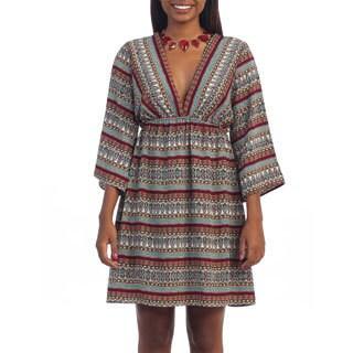 Hadari Women's Deep V-neck Empire Waist Dress