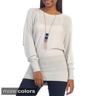 Hadari Women's Button Back Dolman Sleeve Sweater Top