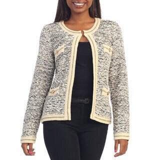 Hadari Women's Classic Styled Marble-knit Cardigan