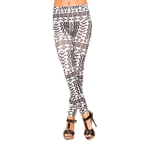 Just One Women's Seamless Brown Geometric Printed Leggings