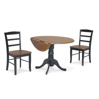 Dining Essentials 3 Piece 42 Inch Black Cherry Dual Drop Leaf Table