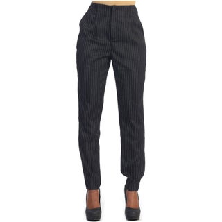 Hadari Women's Black Pinstripe Slack Trousers