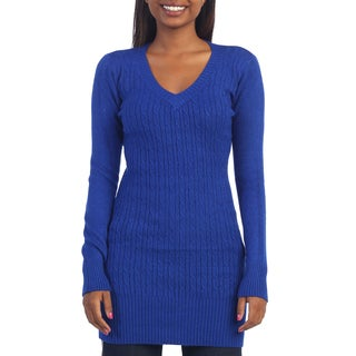 Hadari Women's Long Sleeve Knit Sweater Tunic with Scarf