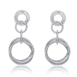 Collette Z Sterling Silver Cubic Zirconia Circle Dangle Earrings