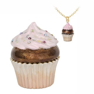 Enameled Cupcake Trinket Box with Crystals