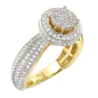 K.C. 10k Yellow Gold 1/10ct TDW Designer Diamond Ring (G-H, I1-I2)