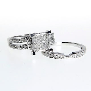 14k White Gold 1/2ct TDW White Diamond Engagement Ring Set (G-H, I1-I2)