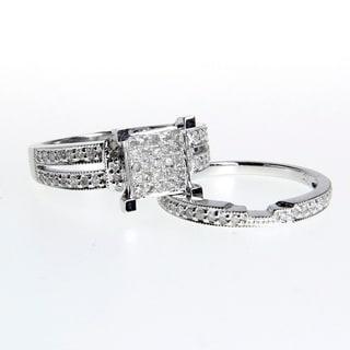 14k White Gold 1/2ct TDW White Diamond Engagement Ring Set (G-H, I1-I2)