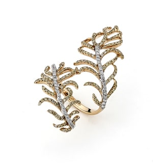 Diamonds For A Cure 18k Rose Gold 1 1/6ct TDW White and Yellow Diamond Knuckle Leaf Ring (G-H, SI1-SI2)