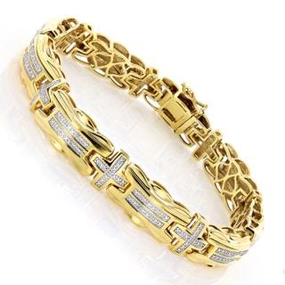 Goldplated Sterling Silver Men's Two-tone 1/3ct TDW Diamond Cross Bracelet (I-J, I1-I2)