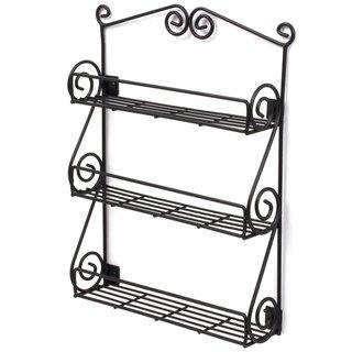 Black Metal 3-shelf Spice Rack Wall Mount