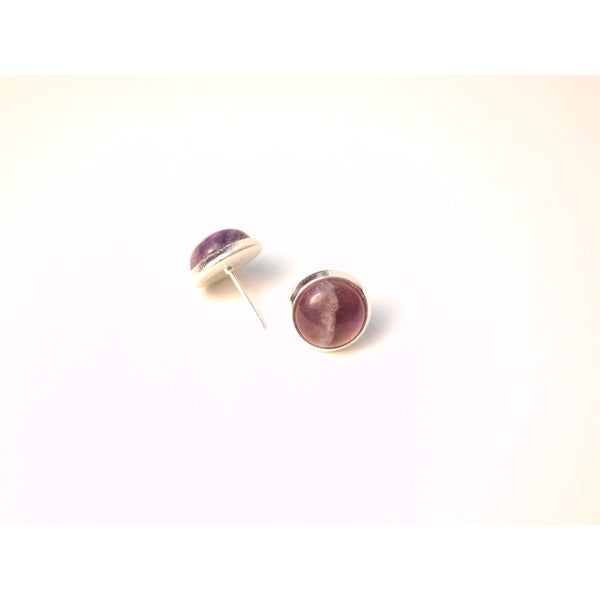 Pretty Little Style Silvertone Purple Amethyst Cabochon Stud Earrings