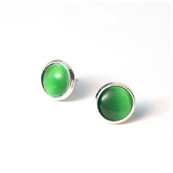 Pretty Little Style Silvertone Lime Green Cat's Eye Cabochon Stud Earrings