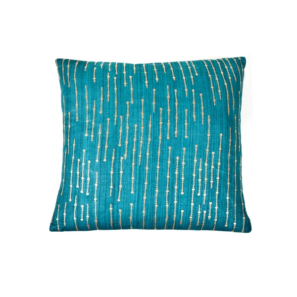 Trendsage Sequins Teal Decorative Accent Pillow