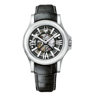 Bulova Accutron Men's 63A000 Automatic Skeleton Black Leather Swiss Watch