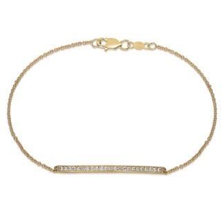 14k Yellow Gold 1/4ct TDW Diamond Bar Bracelet