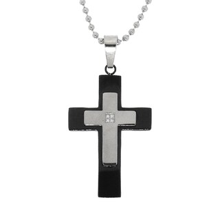 Gioelli Black-plated Stainless Steel Diamond Accent Cross Necklace