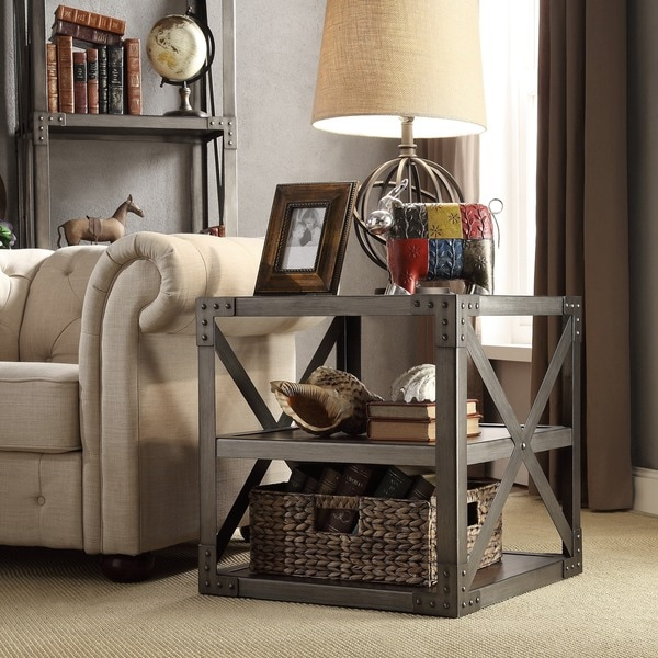 INSPIRE Q Sedgwick Vintage Industrial Modern Metal Bracket End Table