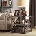 INSPIRE Q Caicos Vintage Industrial Modern Bracket Metal End Table