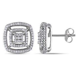 Miadora 10k White Gold 1/2ct TDW Diamond Stud Earrings (H-I, I2-I3)