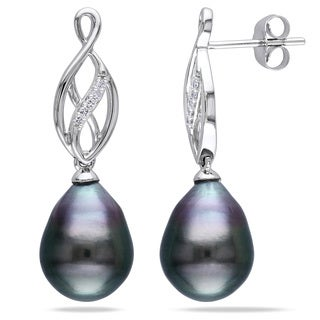 Miadora 10k White Gold Tahitian Black Pearl and Diamond Dangle Earrings (H-I, I2-I3)