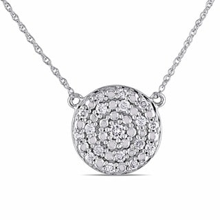 Miadora 10k White Gold 1/4ct TDW Diamond Circle Necklace (H-I, I2-I3)