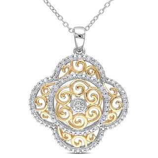 Haylee Jewels Two-tone Silver 1/4ct TDW Diamond Necklace (H-I, I2-I3)