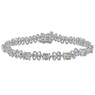 Miadora Sterling Silver Green Amethyst and Diamond Accent Bracelet
