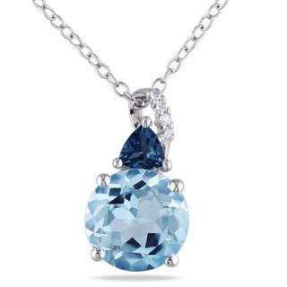 Miadora Silver Blue Topaz and Diamond Accent Necklace (H-I, I2-I3)