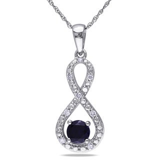Miadora 10k White Gold Created Blue Sapphire and 1/10ct TDW Diamond Necklace (H-I, I2-I3)