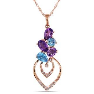 Miadora 14k Rose Gold Amethyst, Topaz and 1/10ct TDW Diamond Necklace (H-I, I1-I2)