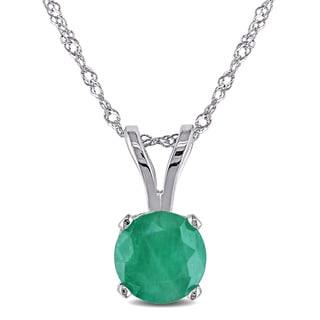 Miadora 14k White Gold 4/5ct Emerald Solitaire Necklace