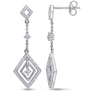 Miadora 10k White Gold 1/3ct TDW Diamond Dangle Earrings (H-I, I2-I3)