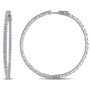 Miadora 10k White Gold 2ct TDW Diamond Hoop Earrings (H-I, I2-I3)