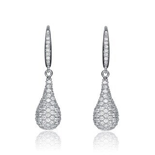 Collette Z Sterling Silver Cubic Zirconia Micro Pave-set Pear Drop Earrings