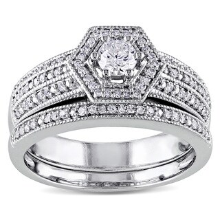 Miadora 14k White Gold 1/2ct TDW Diamond Halo Bridal Ring Set (G-H, I1-I2)