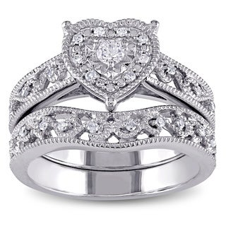 Miadora Sterling Silver 1/5ct TDW Diamond Bridal Heart Ring Set (H-I, I2-I3)